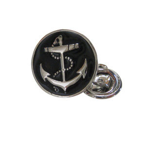 Black Nautical Anchor Lapel Pin and Tie Tack